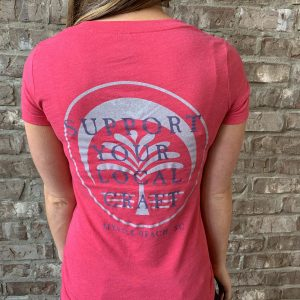 Ladies Support Local V-Neck (Hot Pink)